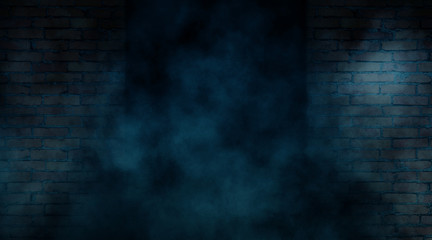 Background of empty old brick wall, night, neon, spotlight, smoke