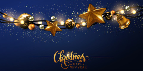Merry Christmas and a happy New Year.  Golden garland on a blue backgroundt. High detailed realistic illustration.