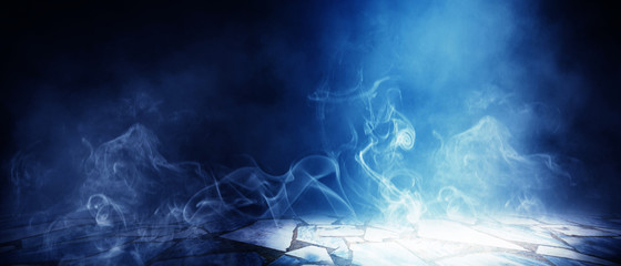 Background of empty room, street, neon light, smoke, fog, asphalt, concrete floor Fotomurales