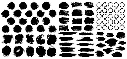 Dry paint stains brush stroke backgrounds set.
