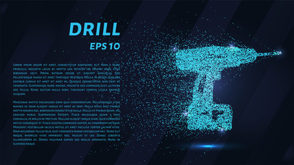 Drill of blue glowing dots. Repair tool.