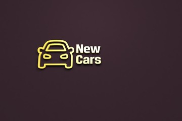 Text New Cars with yellow 3D illustration and brown background