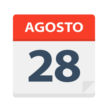 Agosto 28 - Calendar Icon - August 28. Vector illustration of Spanish Calendar Leaf