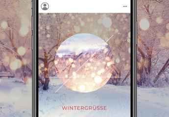 Geometrisches Feiertags-Set für soziale Medien