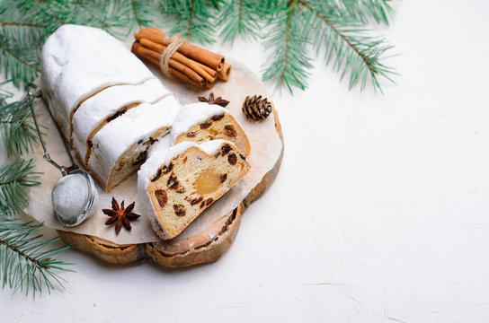 Christmas Stollen,Traditional Fruit Loaf Cake, Festive Dessert for Winter Holidays