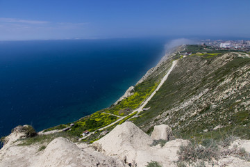 view of bald mountain in Anapa on the black sea