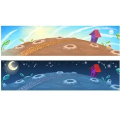 Little fairy house on the moon. Vector cartoon close-up illustration.