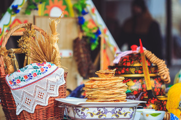 Traditional pancakes nationally Belarusian dishes at Shrovetide