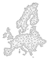 Polygonal mesh map of Euro Union in black color. Abstract mesh lines, triangles and points with map of Euro Union. Wire frame 2D polygonal line network in vector format.