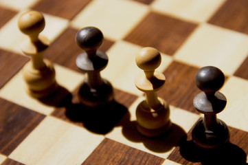 pawns on a chessboard
