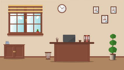Workplace in the office on a cream background. Vector illustration. Table, clock, plant, cactus, diplomas. Ideal for advertising, website and magazine design