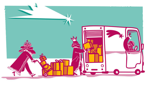 The three wise men working in a delivery van. Christmas card.
