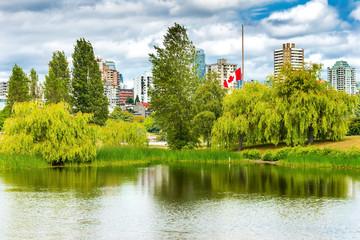Canadian Flag Pond Vanier Park Vancouver British Columbia Canada
