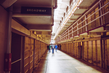 Cells of the Alcatraz Island, formerly a military prison and today a historic place that daily hosts tourists' visits Wall mural