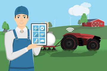 Etiqueta Engomada - A farmer with a tablet computer controls a autonomous tractor and drones on a smart farm. Vector illustration EPS 10