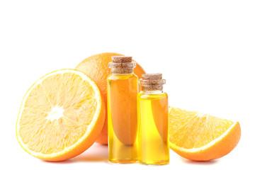 Orange oil in bottles isolated on white background Fototapete