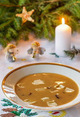 Polish Christmas mushroom soup with pasta