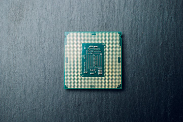 processor for computer isolated on a colored background