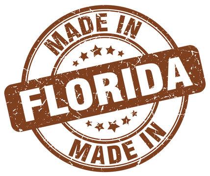 made in Florida brown grunge round stamp