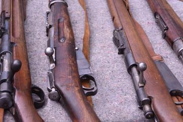 Vintage rifles of World War I, closeup