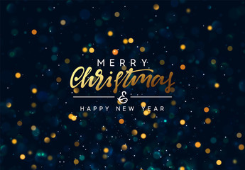 Christmas background with golden lights bokeh. Xmas greeting card. Magic holiday poster, banner. Night bright gold sparkles background. Merry Christmas and Happy New Year