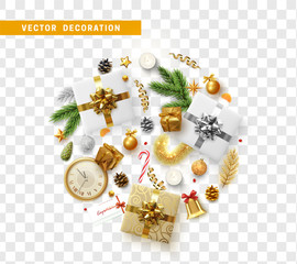 Christmas decoration design with festive objects. Isolated on transparent background