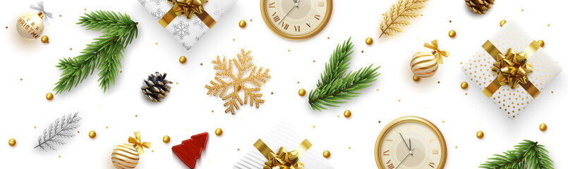 Christmas vector banner. Background Xmas realistic decoration objects viewed from above.