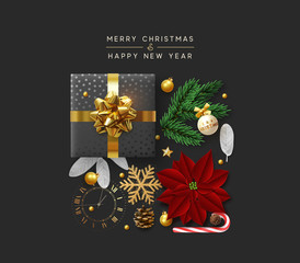 Christmas background with decorative Xmas elements of design. Gift box, shining gold glitter snowflake, golden ball, decoration bauble, sweet candy, pine cone and vintage watches. Greeting card