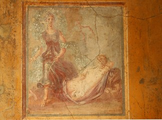 Detail color image of a fresco from the ancient city of Pompeii.
