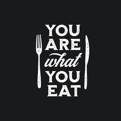 Estores personalizados con tu foto You are what you eat typography print. Vector vintage illustration.