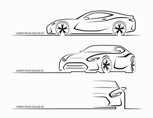 Set of sports car silhouettes. Vector illustration
