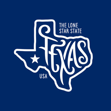 Texas related t-shirt design. The lone star state. Vintage vector illustration.
