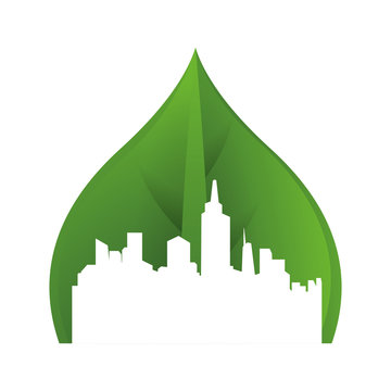 green cityscape ecology icon
