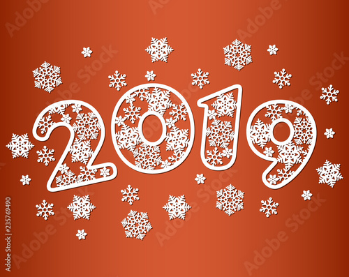 happy new year numbers 2019 for laser cutting with pattern of snowflakes template for new