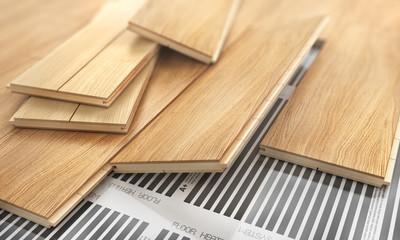 Obraz Parquet plank with floor heating. 3d illustration - fototapety do salonu