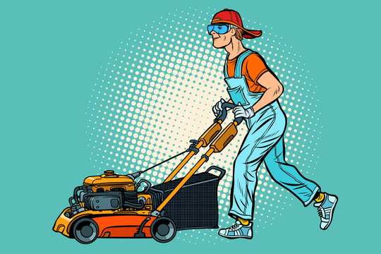lawn mower worker. Profession and service