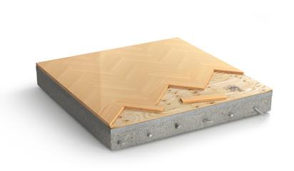 Obraz Floor layers. Piece of parquet floor. 3d illustration - fototapety do salonu