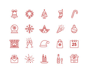 Illustration for New Year and Christmas design icon set in line style.