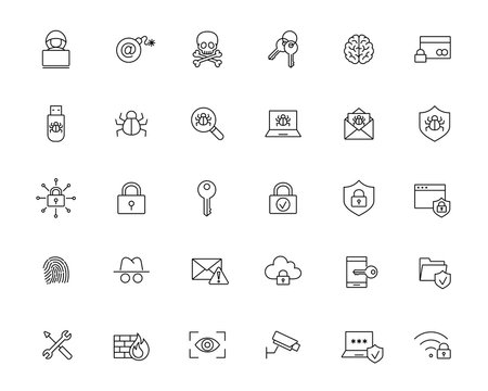 malware cyber attack protection line black icons set on white background
