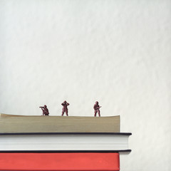 Toy soldiers on stack of books