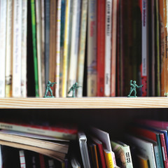 Toy soldiers on bookshelf