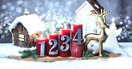 1 2 3 4 Weihnachten Kerzen Golden Reh
