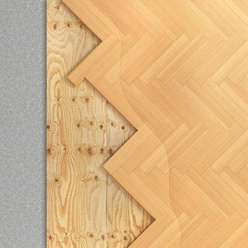 Floor layers. Parquet floor. 3d illustration