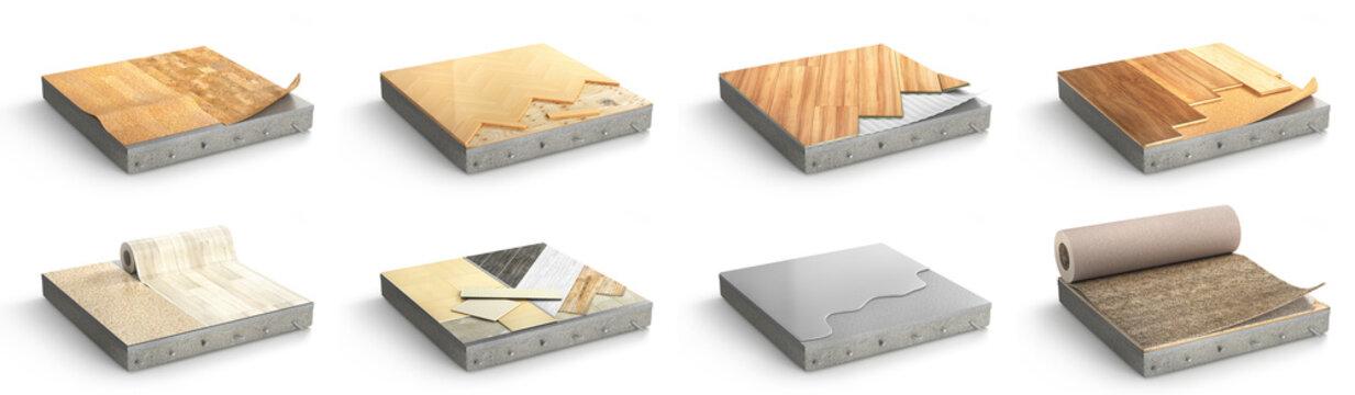 Floor types coating. Flooring Installation. Set of pieces of different floor coating. 3d illustration