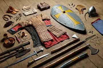 Collection of medieval weapons and equipment