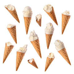 set of bitten vanilla ice cream on a white background