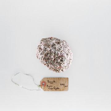 Granite rock with label