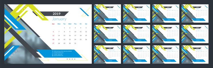 Calendar design for 2019