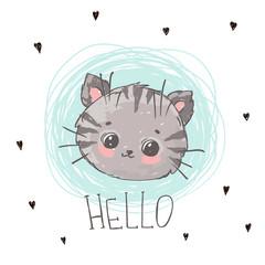 Cute hand drawn cat. Kitten vector illustration.