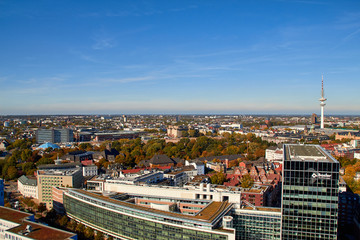 City streets of Germany. Panoramic view of the city of Hamburg from a height. Photo of Hamburg from a height. Cityscape houses and streets.